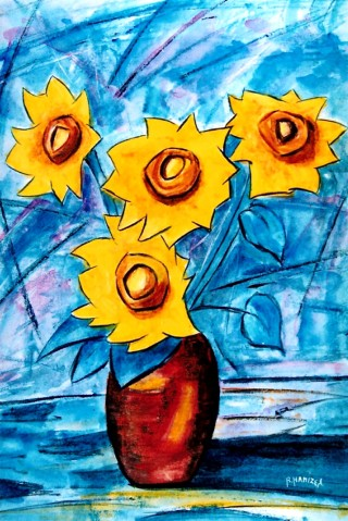 1987 - [:fr]Tournesols - Acrylique sur toile - 61x46cm [:en]Sunflowers - Acrylic on canvas - 61x46cm