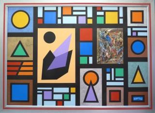 3769 - [:fr]Composition Géométrique, Kaléido & Modules - Acrylique & Métaux sur toile - 92x65cm [:en]Geometric Composition & Kaleido - Acrylic & Metals - 92x65cm