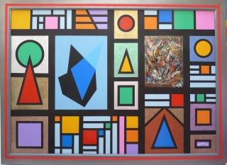 3770 - [:fr]Composition Géométrique, Kaléido & Modules - Acrylique & Métaux sur toile - 92x65cm [:en]Geometric Composition & Kaleido - Acrylic & Metals - 92x65cm
