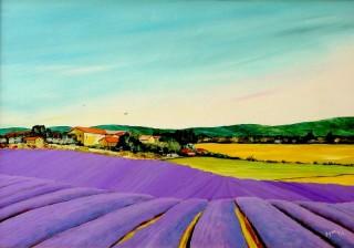 2526 -[:fr] Paysage de la Drôme Provençale - Acrylique - 67x47cm [:en]Drôme Provençale - Acrylic - 67x47cm