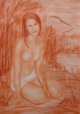 3065 - [:fr]Céline - Sanguine - 67x47cm [:en]Céline - Red Chalk - 67x47cm