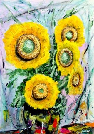 1491 - [:fr] Tournesols - Acrylique - 55x40cm [:en]Sunflowers - Acrilyc - 55x40cm